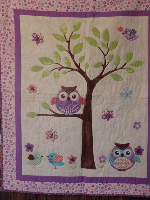 Baby Quilt Crib Quilt Baby Girl Quilt Owl Quilt Pink