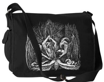 """Black Metal """"Slaughter the Holy"""" Canvas Laptop Bag Messenger Bag"""