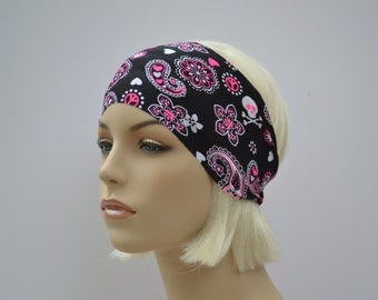 Pink Paisley Floral Stretch Fitting Headband Headwrap,Yoga Workout Fitness Headband,Festival Dance Gymnastics Accessory,Choose Width