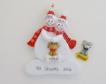 Personalized Couple Ornament with Custom Pet/Dog or Cat - Personalized Snow Couple with Custom Dog or Cat
