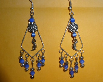 High Priestess Silver and Lapis Moon Dangle Earrings