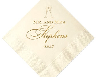 Mr and Mrs Personalized Wedding Napkins