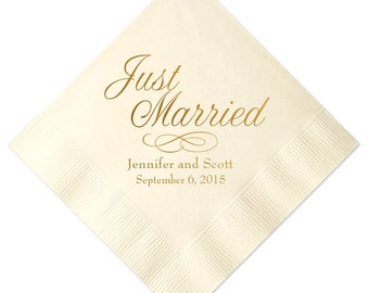 Just Married Personalized Wedding Napkins (Style 3)