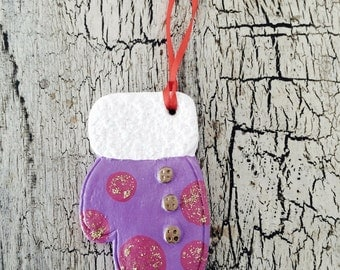 Christmas Ornament: Purple Mitten with Pink Spots