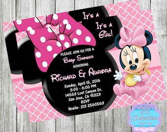 BABY Minnie Mouse and Mickey Mouse Baby Shower Invitation for