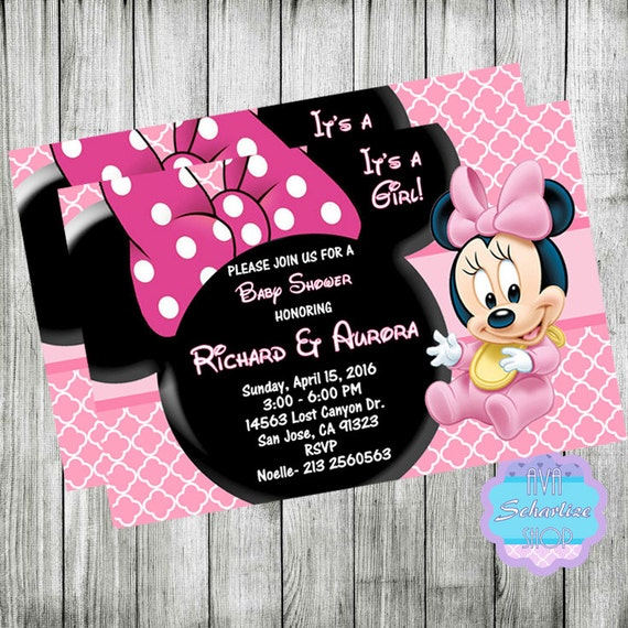 baby minnie mouse baby shower invitation minnie mouse invitation