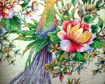 Beautiful vintage designed Curtain / drape with birds and flower in high quality and wonderful colors.