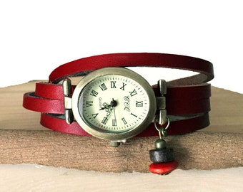 Ladies watch leather strap genuine leather dark red beads from Japan