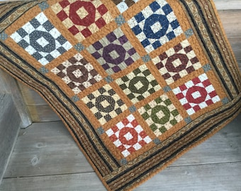Reproduction Quilt Civil War Table Topper Mini Quilt Cottage Rustic Wall Hanging Reproduction Fabric Primitive Handmade Quilt Ready To Ship