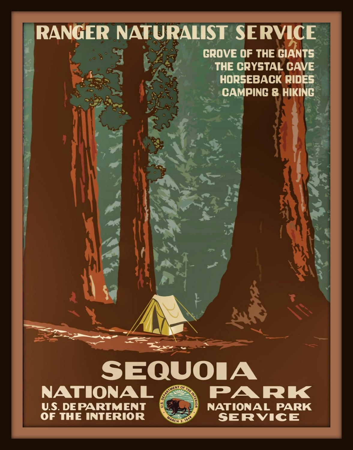 Sequoia national park poster wall decor by glacierharbour for Decor nation