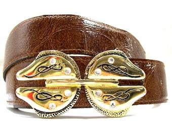 Women's Brown Leather Belt, Vintage Brown Leather Belt