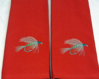 Towel, Kitchen Towel, Embroidered Towel, Fly Fishing Towel, Embroidered Fly