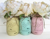 Three Painted Mason Jar - Shabby Chic Rustic Decor Centerpieces Baby Shower Flower Vases Distressed Pastel Light Yellow Mint Green Pink