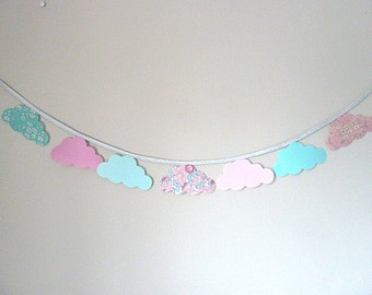 Clouds pink blue silver Liberty betsy Amélie fabric Garland