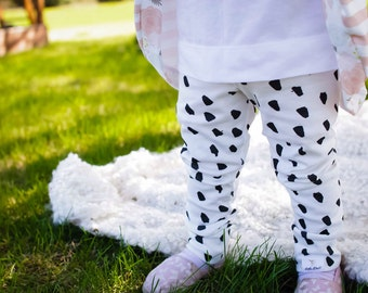 Black and white dot leggings organic knit