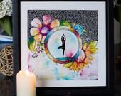 Framed yoga inspiring by Marika Lemay mixed media artist inspiring emditative art