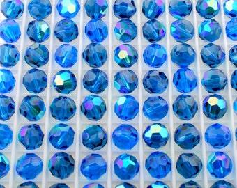 ON SALE - 24 pcs Capri Blue AB (7mm) Swarovski Crystal 5000 Round Beads