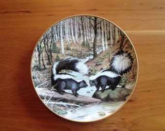 Peter Barret, The Woodland Year, Striped Skunks at a March Stream, Calendar Plate  Franklin Porcelain