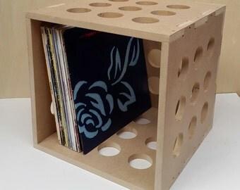"12"" Vinyl LP Record Storage Cube Box Crate Shelf Portable Stackable"