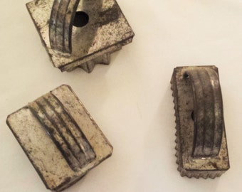 3 Primitive Tin soldered Cookie Cutters