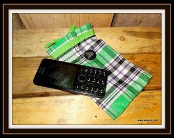Handmade little bag (pouch) made of fabric.
