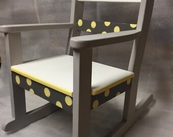 Child's Rocking Chair Classic Grays with Yellow Dots!