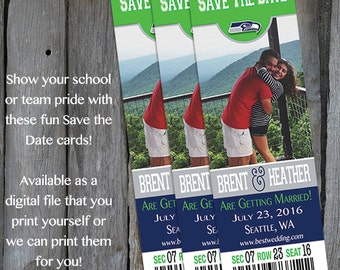 Seattle Seahawks Themed Save the Date Tickets - Football Save the Dates - Printable Save the Dates - Engagement Announcement