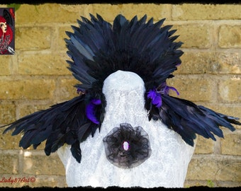 Neck Shoulders Reaven Crow feathers purple black roses