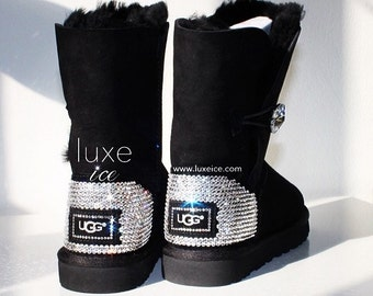 Ugg Boots Bailey Button Bling- Black with Swarovski Crystals