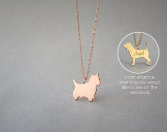 14K Solid GOLD Tiny YORKSHIRE TERRIER Name Necklace - Gold Yorkie Necklace - Gold Westie - 14K Gold or Rose Plated on 14k Gold Necklace