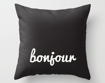 Bonjour Pillow, French Throw Pillow, Good Morning Paris Pillow, Travel Pillow,, Gift Bonjour Home Decor, France Decor Pillow