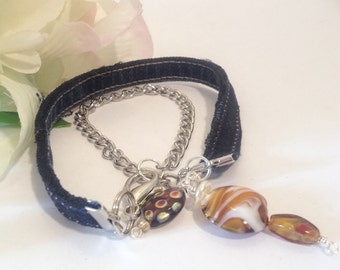 Denim charm bracelet, denim bracelet, charm bracelet, upcycled denim charm bracelet, repurposed denim, repurposed jeans, blue jean jewelry