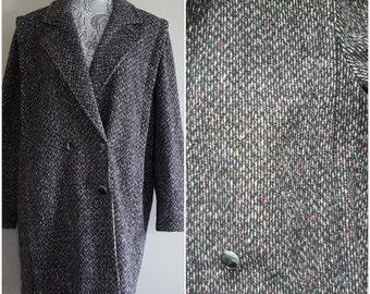 80s vintage tweed coat/ vintage grey tweed winter coat/ vintage wool coat/size 16 overcoat/vintage ILGWU coat/ 70s-80s vintage grey overcoat
