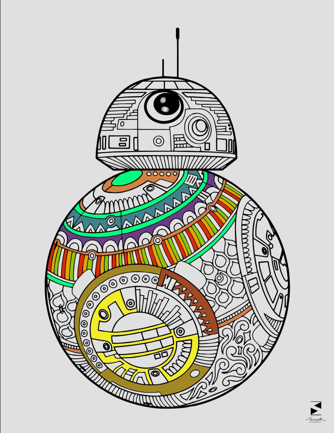 Star Wars Coloring Pages BB 8 Droid Printable Adult