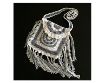 Crochet crossbody bag Fringe purse Boho bag Hippie tote Crochet bag Handbag Gift for her Cotton tote Modern bag Little bagTemiM Fringe bag