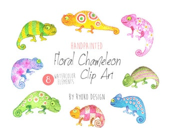 Watercolor Chameleon Clipart, Illustrations, Tropical, WaterColor, Rain forest, Tropical, PNG, DIY,Invitations, greeting cards, scrapbooking