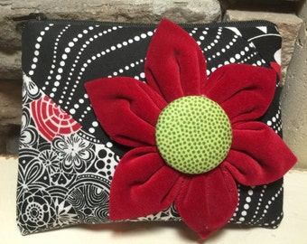 Red, Black & White Quilted Zipper Pouch