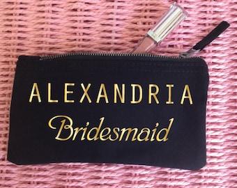 Custom Makeup Bag with Name. Custom Bridesmaid Makeup Bag. Bridesmaid Gift. Wedding Gift. Custom Printed Name. Maid of Honor. Personalised