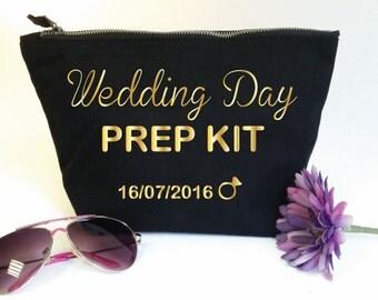 Wedding Day Prep Kit Custom Makeup Bag with Date. Bridal Cosmetic Bag. Wedding Gift. Custom Bride Gift. Bridal Shower Gift. Bachelorette