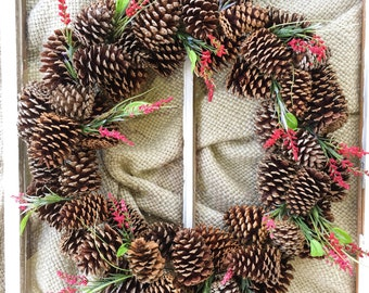 Pinecone Wreath, Christmas Wreath, Red Wreath, Outdoor, Holiday, Rustic Wreath, Xmas Wreath, Modern, Pine Cone Wreath, Country, Front Door,