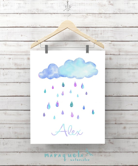 RAIN Baby SHOWER for room colorful watercolor wall art. Shower boy baby, Gift Ideas Sky for Baby, decoration kids child room customized name