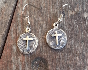 Cuttlebone Cast Earrings with Crosses.