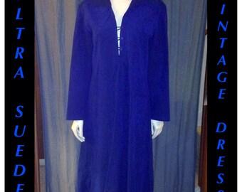 Women's Vintage Long Sleeve Blue Ultra Suede Dress.