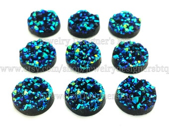 12mm Iridescent Blue Faux Druzy Cabochon Resin Cabochons Drusy Studs Fits 12mm Bezel Stud Crystal Earrings Druzy Post Earring DIY Druzy