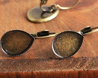 10pcs, 10x14mm Teardrop Earring Blanks French Lever back Earrings Cabochon Settings Cabochons Bezel Tray Cups Fits 10x14mm Teardrops Stone