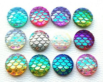 12mm Mermaid Cabochon Sampler Pack Mermaids Cabochons Iridescent Scale Cabochons Resin Cabochon Cellphone Case Earring Findings Dragon