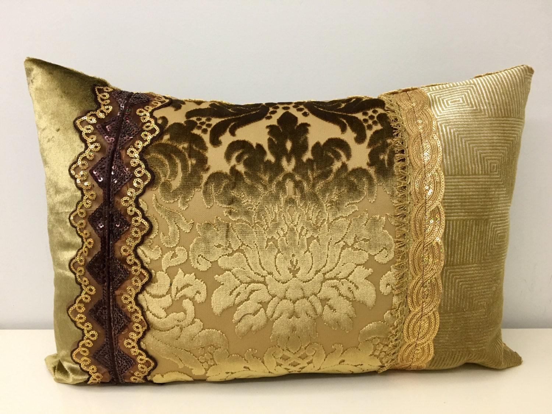 Gold Velvet Pillow Cover Velvet Pillow Decorative by artdecopillow