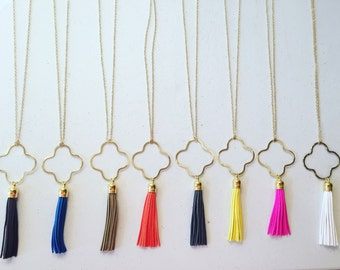 Gold chain quatrefoil tassel necklaces