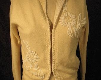 On Sale 1950's Cream Helen Harper Ladies Knit Beaded Cardigan Sweater