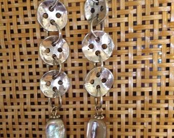 Silver tone abalone nugget earrings